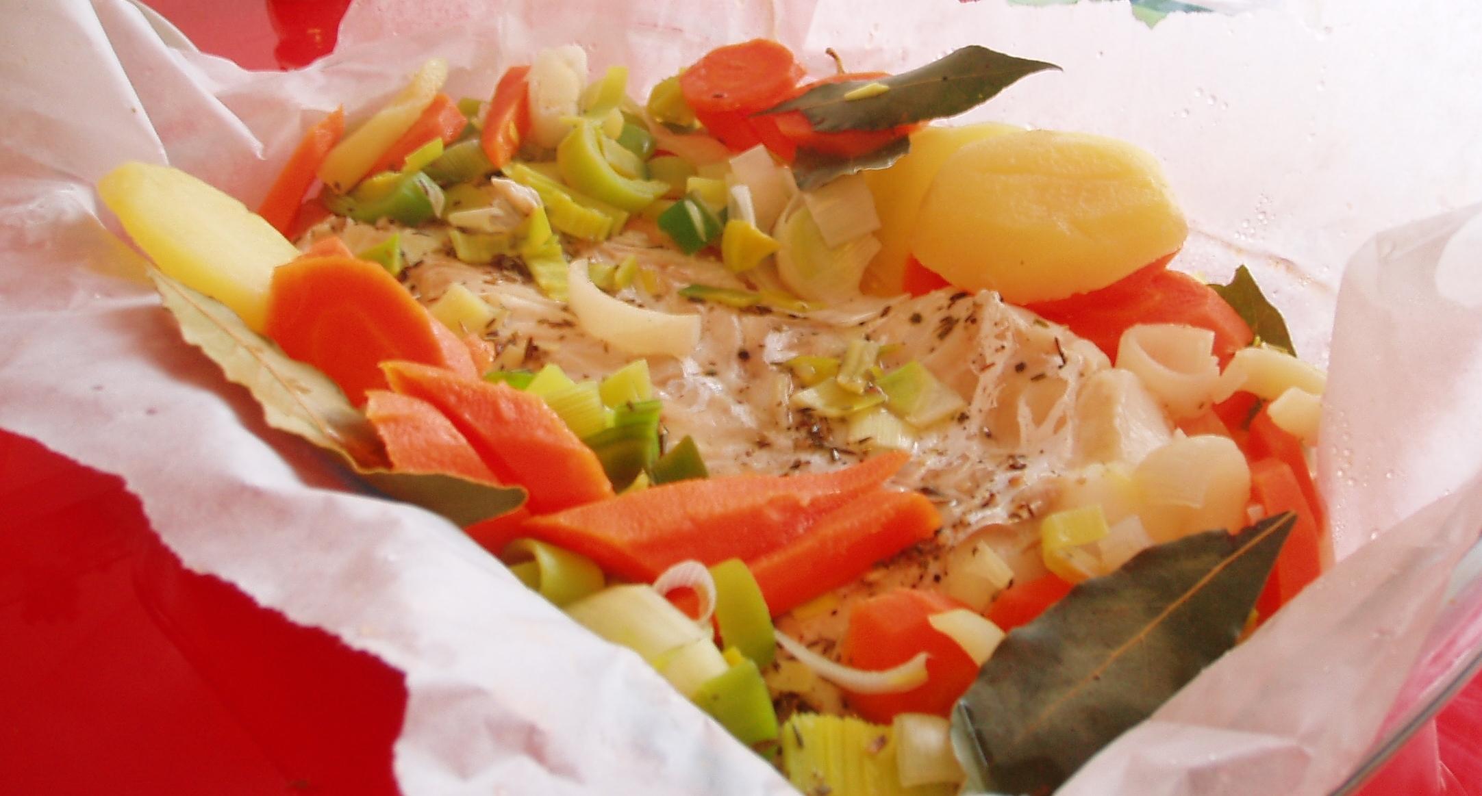 dos de cabillaud au four avec légumes