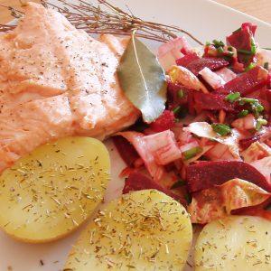 Filet de saumon à la sauge et au thym