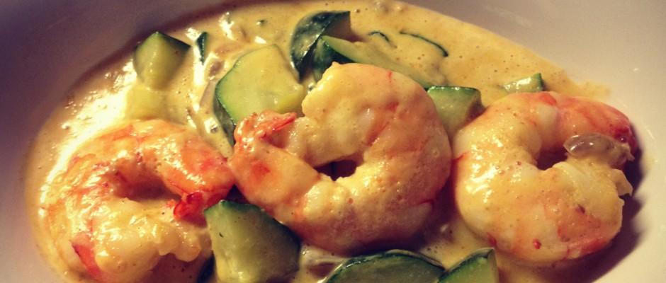 Recette curry de courgettes et crevettes pal o r gime - Comment cuisiner le poireau a la poele ...